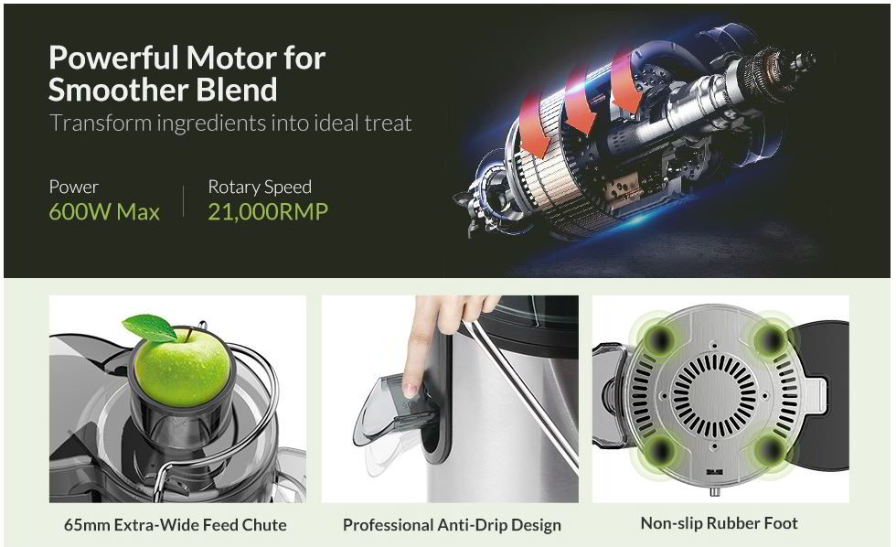 Easehold Juicer Machines Extractor 600W Centrifugal Juicer 1