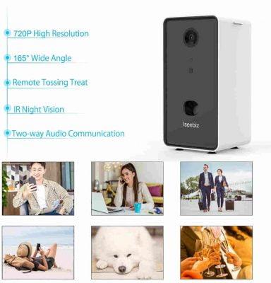 Iseebiz Pet Camera Treat Dispenser App Control Remote Tossing for Dogs Cats