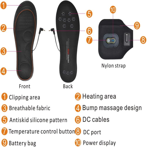 Heated Insoles with Power Display
