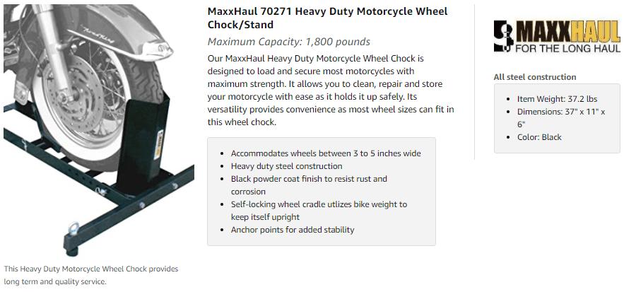 MaxxHaul Adjustable Motorcycle Wheel Chock