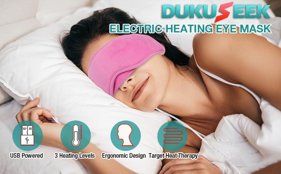 Heated Eye Mask DUKUSEEK USB Electric Eye Mask for Dry Eyes